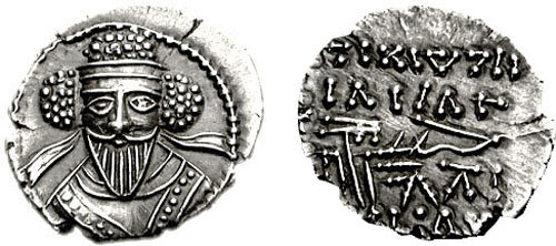 Coin of Valaksh V, the Parthian Great King opposing Severus.