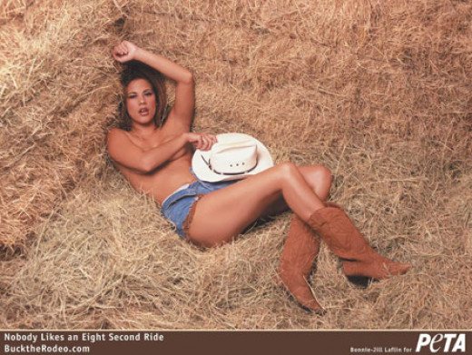 "Bonnie-Jill Lafin posed for PETA's ""Buck the Rodeo"" campaign"