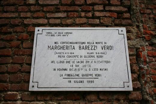 Plaque in memory of the burial of Margherita Barezzi Verdi (1814-1840), first wife of Giuseppe Verdi, Milan