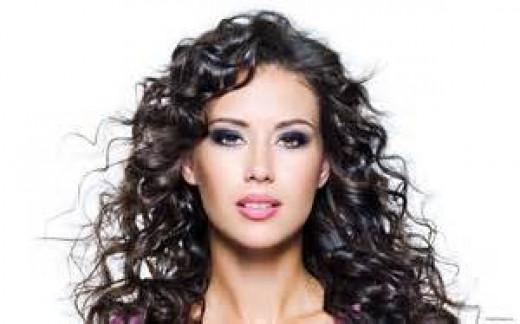 Soft curly brunette hair