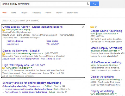 Search advertising emphasizes response over branding. The ads often consist of only text and no images.