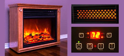 Lifesmart Largre Room Infrared Quartz Fireplace in Burnished Oak Finish w/Remote