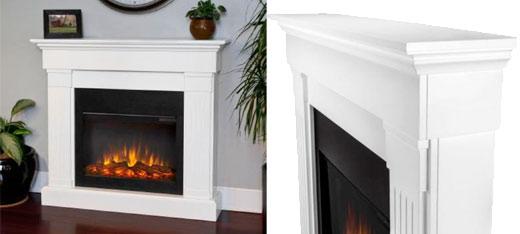 Slim Crawford Electric Fireplace Finish: White