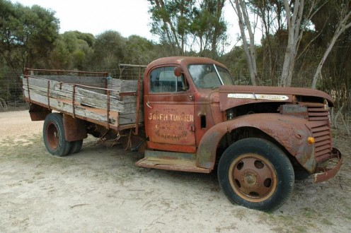 Vintage truck that early truckers actually drove to deliver their goods
