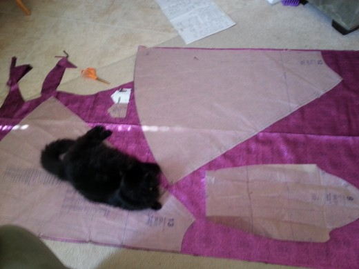 Laid out on the floor because I needed the space. Please note my fabric is shown 'wrong side' up on this side.