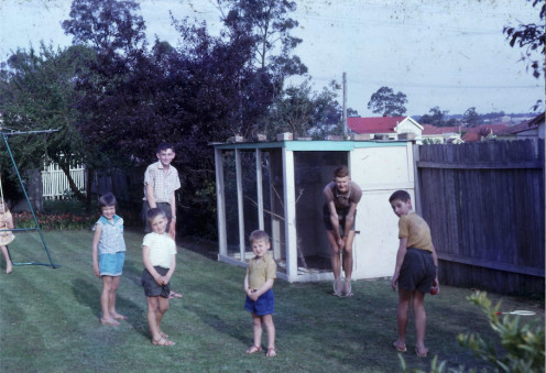 "This is my 11th Birthday, 30 September, 1961. I was sure sprouting up looking like the skinny gawky kid to the left there behind my sister (in blue). At age 12, I was 5'11""...!!!! And very conscious of it."