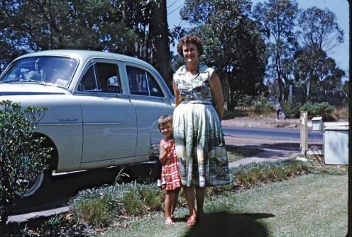 Mum and Di, front yard, next to the Velox. All this is gone now.
