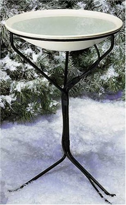 Birds rely on a a good drinking source more so during the winter months.  A basic stand with a rust proof basin is preferred.   And also one that will have room for a heater to keep it ice free during the colder days of the year.