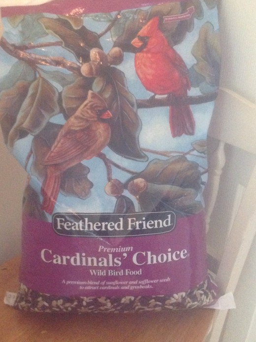 I usually buy a forty pound bag of safflower and sunflower mix to feed the birds at my feeder, preferably during the colder winter months.  Feathered Friend is a good name brand bird seed.