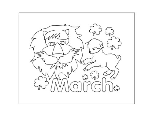 March Calendar Color In Page, Lion and Lamb