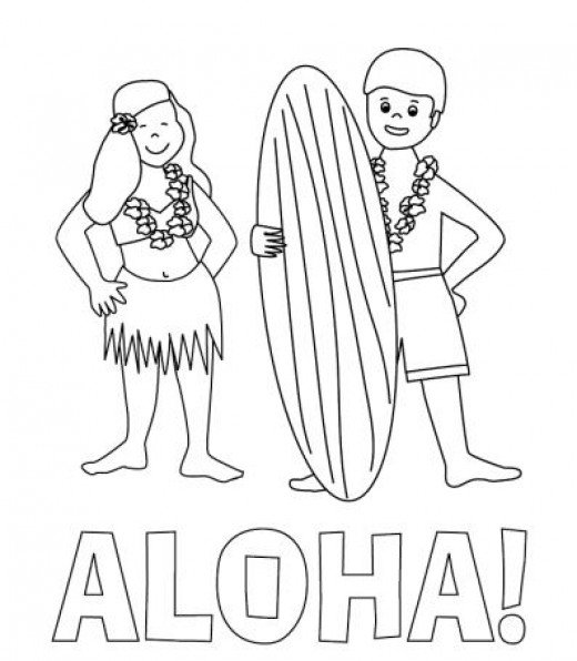 Aloha Hawaii Surfers sketch coloring page