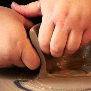 This picture shows a pot cut in half to show a visualization of how the hands/knuckles/fingers look as one is pulling clay up.