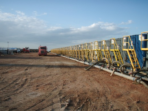Water tanks preparing for hydraulic fracturing. Fracking requires millions of gallons of water to be pumped into the well at high pressure, along with chemical additives.  Anti-frackers believe that the chemicals might also pollute drinking water.