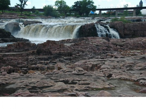 Sioux Quartzite running along the Big Sioux River at Sioux Falls SD.