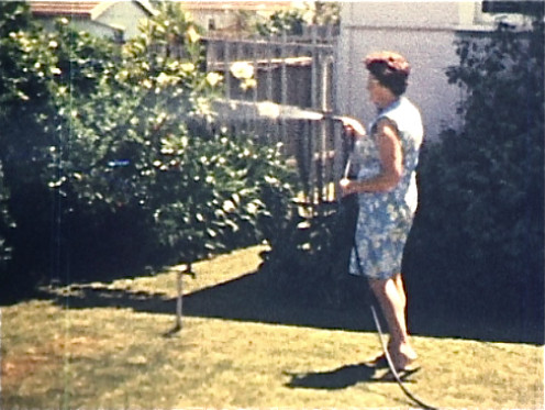 Mum hosing the front garden from one of my first 8mm films.