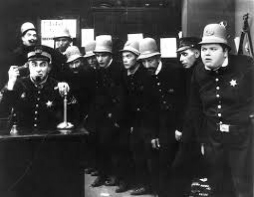 Keystone Cops were not cops. They were for comedy scenes on vintage movies