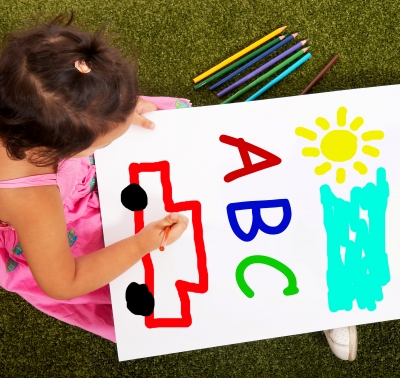 Children love to draw the abc