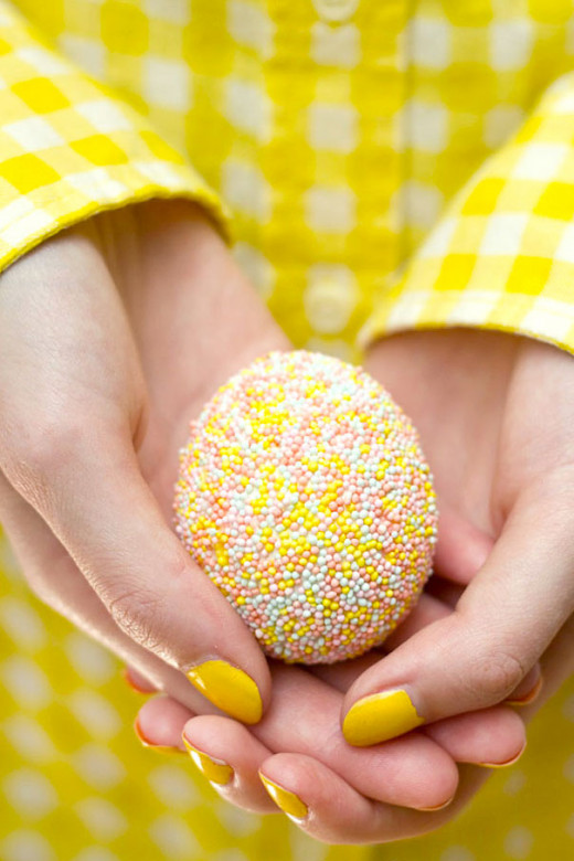 An egg covered in sprinkles