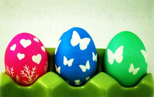 Sticker stenciled eggs
