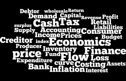 Words used by an economist or a finance person