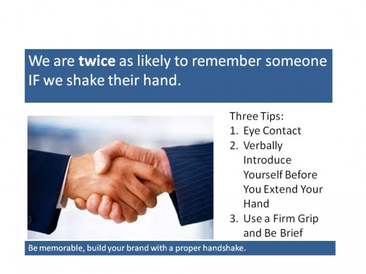 colorful poster detailing 3 tips for a professional hand shake