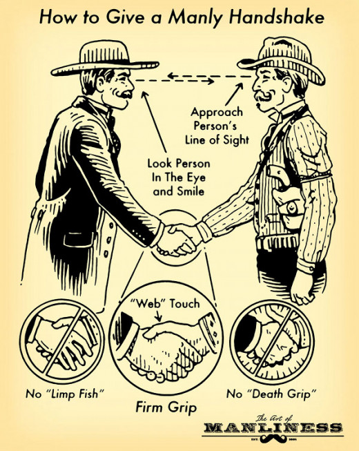 fun line drawing summarizing how to shake a hand like a man in yellow and black
