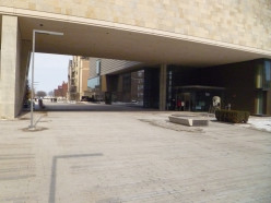 Plaza between the two buildings.
