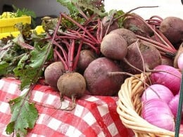 Beets (or beetroot) at a farmers market. Beets grow well in soil fertilized by urine.