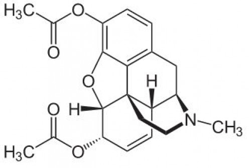 The chemical structure of heroin
