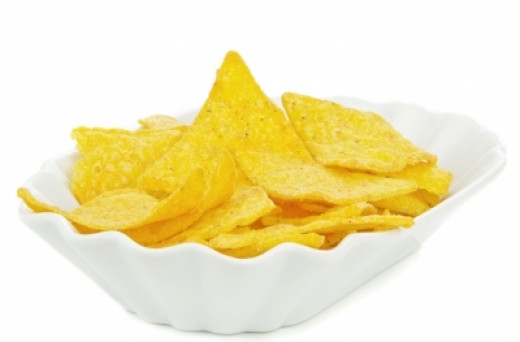 Corn chips go well with this soup and are a decorative addition. Try to purchase low-salt.