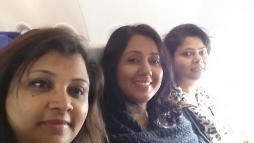 Flight to Jaipur - from left to right - Dipti Singha, me and Jayanti Goswami