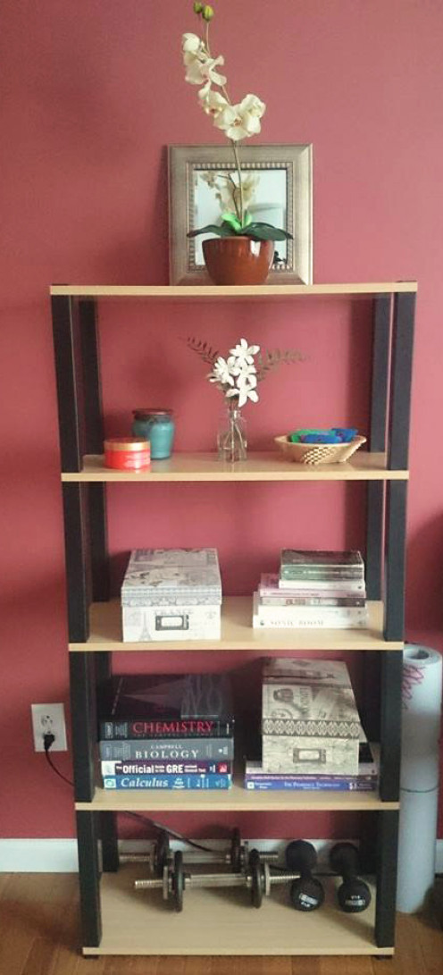 An organized bookshelf