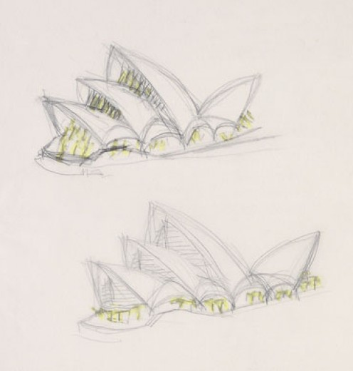 Jørn Utzon (b.1918)Perspective sketches of Opera House with glazing highlit c.1960 pencil and crayon on paper; 33.0 x 47.0cm PXP492 ff209 Presented by Bill Wheatland, for Jørn Utzon, 1972 Mitchell Library, State Library of New South Wales
