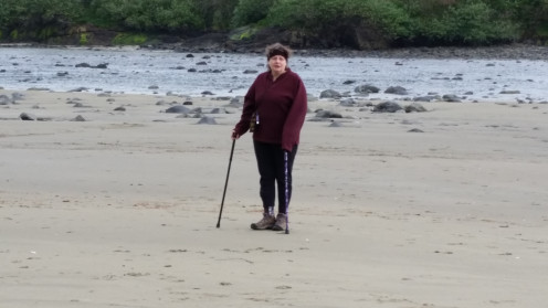 We found easy access down to the beach and after it rained the sand was hard enough for me to walk on it with my cane.