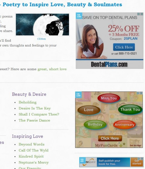 An example of advertising alongside content