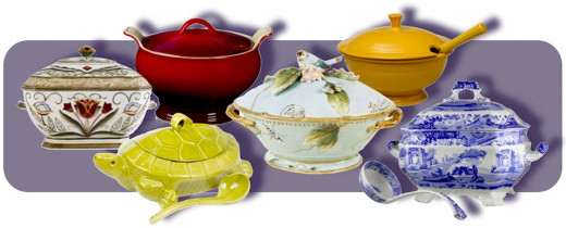 L to R: Fitz & Floyd Glennbrook Tureen, Le Creuset Stoneware 3-Qt Cherry Tureen, Green Ceramic Turtle Tureen, Fitz & Floyd Toulouse Tureen, Fiesta 75th Anniversary Tureen in Marigold, and Spode Blue Italian Tureen and Ladle. All available at