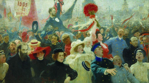 """Demonstration on October 17th, 1905"" by Russian artist, Ilya Repin"