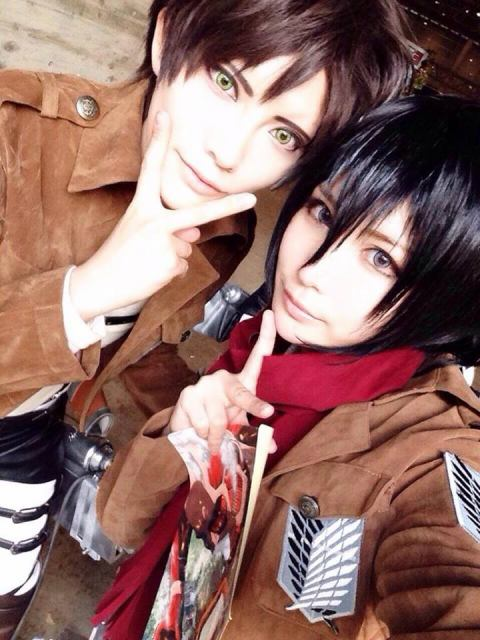 Eren and Mikasa (Touya as Eren)