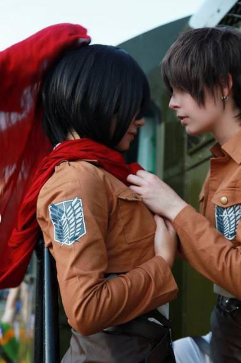 Eren and Mikasa (credits to cosplayers)