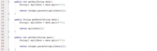 Method definition of getDay(), getMonth(), and getYear().