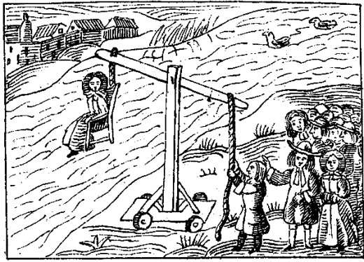 "An accused witch during Colonial times on a ""dunking stool"". Did she really practice witchcraft or was she just a victim?"