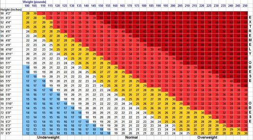 BMI chart - Starvation mode myth