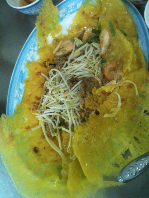 Banh xeo pancakes are very light and lacy which ensures they complement rather than dominating this delightful dish