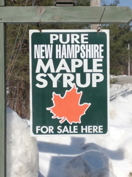 Most of the maple producers in New Hampshire hang this sign to indicate that they sell their product.