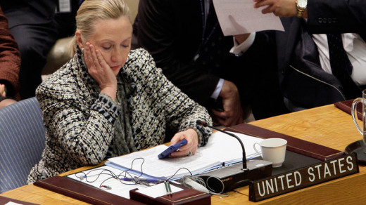 Hillary Clinton looking at personal emails