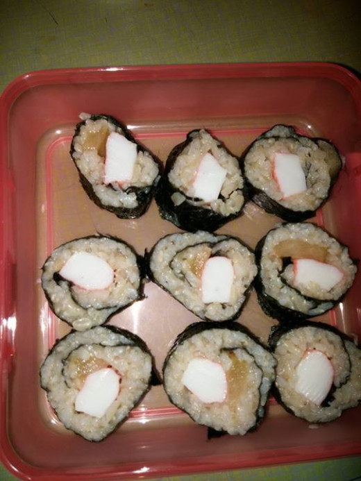 Completed sushi packed for lunch!