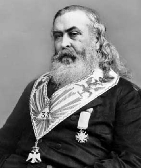 Albert Pike a well known politician in Arkansas and the Indian Agent for the Oklahoma Territory. He would led the Indian troops who fought for the Confederates at the Battle for Leetown March 7,1862 .