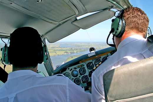 Flight instructor sits at right seat, giving student to fly as pilot in command.