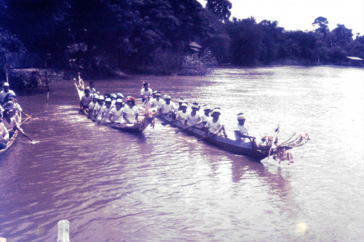 Boat races on the river by the village