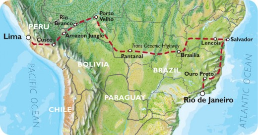 Route of the Trans Oceanic Highway in South America